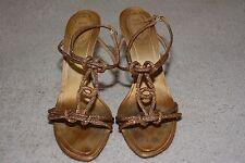 Rene Caovilla Crystal Embellished  Sandals High Heel Shoes Gold Size 40 / 9.5