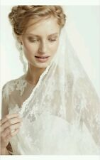 David's Bridal 1-Tier All Over Mid-Level Lace Veil, VMS251505V1, IVORY ($199)