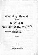 ZETOR TRACTOR 5011 6011 6045 7011 7045 WORKSHOP SERVICE MANUAL