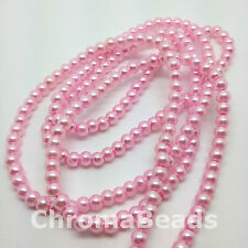 4mm Glass Faux Pearls strand - Pastel Pink (200+ beads) jewellery making, craft