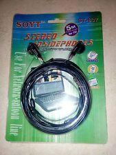 AURICULARES BOTON 3.5 CASCOS CON CABLE LARGO DE 5 METROS TV TELEVISOR/PC/TLF