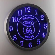 Nc0971-b route 66 west historique enseigne au néon led horloge murale