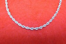 "14KT WHITE GOLD EP 24"" 4MM ROPE FRENCH STYLE CHAIN NECKLACE"