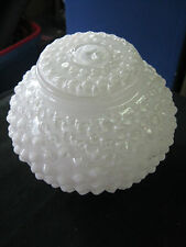"""White Glass Hob Nail Light Cover 3"""" Opening 4 1/2"""" Deep Used No Cracks or Chips"""