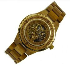 Automatic mechanical designer mens wooden wrist watches father gift wood watch