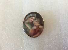 Antique Victorian 14K Gold Hand Painted Mother & Child Porcelain Cameo Pin