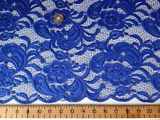 NEW High Class Designer Royal Blue Stretch Net Guipure Floral Scalp Lace Fabric