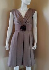ADRIANNA PAPELL FLARE PLEATED BROWN 6 DRESS NEW