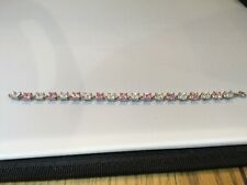STUNNING 925 SILVER TENNIS BRACELET WITH PINK AND WHITE RHINESTONES