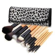 12 x Brochas Pinceles Brush Leopardo Maquillaje Cosmetico Profesional Funda