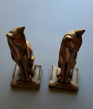 """Bookends Frankart Art Deco Metal Cats Gold Paint 7-1/2"""" Tall Vintage"""