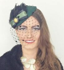 DARK GREEN BLACK PILLBOX FEATHER BOW VEIL HAT RACES PIN UP VINTAGE WEDDING 40s