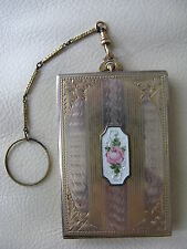 Antique Gold Silver Tone White Guilloche Lipstick Fob Finger Ring Dance Compact