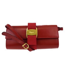 Authentic Salvatore Ferragamo Vara 2Way Shoulder Clutch Bag Leather Red 05W862