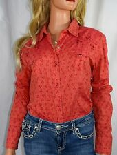 PANHANDLE SLIM Cherry Pickin Pearl Snap Western Embroidered  Cowgirl Shirt Large
