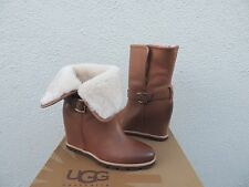 "UGG ELLECIA CHESTNUT LEATHER/ SHEEPSKIN CUFF 3"" WEDGE BOOTS, US 7.5/ EU 38.5 NIB"
