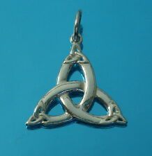 Solid 925 Sterling Silver Triquetra Trinity Knot Pendant Charm Celtic Jewellery