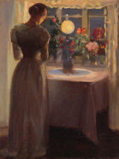 Young girl in front of a lighted lamp Anna Ancher Licht Silhouette B A3 00519