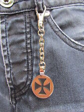 "NEW MEN WOMEN SILVER METAL ROUND KEY CHAIN 4.5"" LONG BLACK CROSS JEANS BAG CHARM"