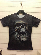 Fashion Black Escape Skull 3D Printed Funny T-shirt Tee Short Sleeve Round Top L