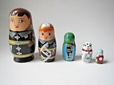 Nesting Dolls 5'' Set of 5 Fireman Family Wooden Woman Dog Hand painted