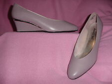"Mauve Leather Classic Style Wedge Pump w/ Silver ""Bridgette"" by Jennifer B 11WW"