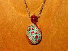 Russian FABERGE inspired ENAMEL Swarovsky Crystals BLUE RED EGG pendant chain