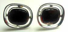 VINTAGE Silver plated Red Glass Inlay Round Disk CUFF LINKS retro cufflinks