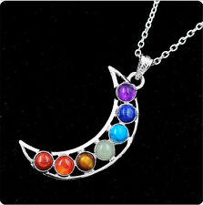 Silver Plated 7 Beads Moon Of Luna Energy Healing Point Chakra Pendant Necklace
