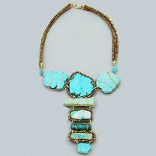 NEW Free People TURQUOISE Natural STONE Necklace Bohemian BOHO Chic STATEMENT