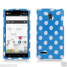 LG Optimus L9 T-Mobile P769 Snap-On Case Cover Accessory Blue White Polka Dots