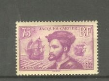 """FRANCE STAMP TIMBRE N° 296 """" JACQUES CARTIER AU CANADA 75c LILAS """" NEUF xx TTB"""
