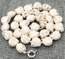 "HOT New 10x14mm White Turquoise Carved Skull Head Beads Mala Necklace 18""AA+01"