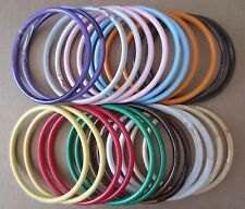 "Lot of 12 Pairs Assorted Color 7"" Round Plastic Macrame Purse Handles Craft Ring"