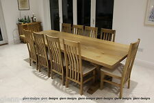 8-10-12 seater Solid Oak, Trident - King Post Corbel, dining table.54mm