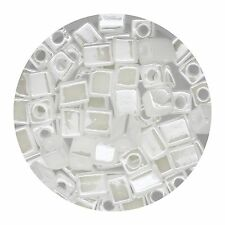 Square Glass Beads Japan 4mm Miyuki Cube White Opal