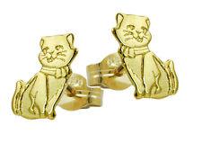 ECHT GOLD *** Kinder Ohrstecker Ohrringe Katze Kätzchen 8 mm