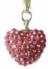 SPARKLY SHAMBALLA BRIGHT PINK CRYSTAL 15mm HEART CLIP ON CHARM FOR BRACELETS