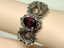 natural red rhodolite garnet antique 925 sterling silver filigre ring size 7 USA