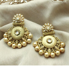 Indian Exclusive Amrapali Chandbali Style Golden Pearl dangle Earring jewellery