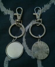 * PACK OF 5 SILVER TONE SWIVEL CLASP KEY RING BLANKS AND 25MM CABOCHON SETTING