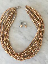 Silpada Eight Strand Freshwater Pearl Necklace Copper/gold  With Earrings Set