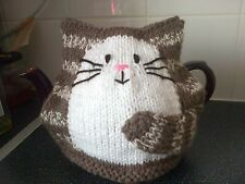 Hand knitted New choc and cream cat tea cosy for 2 pint teapot