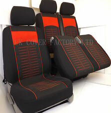 VW TRANSPORTER T5 VAN SEAT COVER BLACK CLOTH RED QUILTED STITCH CLOTH P40RD