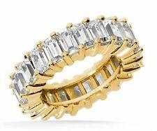 11.21 ct Emerald Cut DIAMOND ETERNITY BAND 14k GOLD RING F VS 16 x 0.70 sz 6