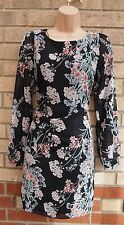 PRIMARK BLACK WHITE PINK GREEN FLORAL LONG SLEEVE CHIFFON SHIFT TUNIC DRESS 10 S