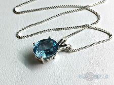 925 Sterling Silver pendant created 3 ct. Aquamarine Aqua Blue Chain Necklace. @