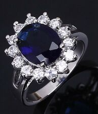 Classic Size 8  Woman's 18K Gold Filled Blue Sapphire Wedding Fashion Rings Halo