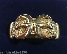 Antique Victorian 9ct Gold Double Buckle Ring, Size Q, Circa 1871