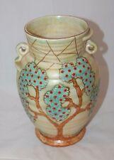 Vintage Art Deco Large 'Crown Devon' Hand Painted Ribbed Twin Handled Vase